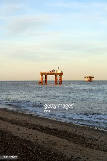 Oil and Gas Rigs off shore Suffolk England