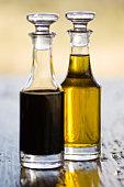Oil and vinegar at safari lodge in Africa.
