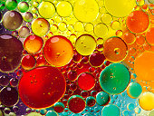 Oil bubbles in water