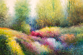 Oil Canvas Painting: Spring Meadow with Colorful Flowers and Trees