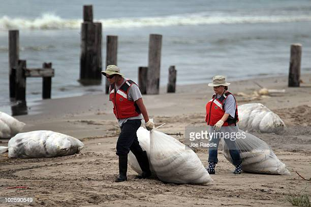 Oil cleanup workers drag bags of absorbent material to be placed along the waters edge as they try to keep the residue from washing on to the beach...