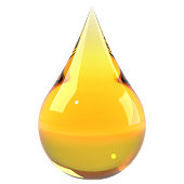 Oil drop isolated on white background. Cooking oil, honey or petroleum machine oil. Graphic design element for poster, flyer, manual, packaging. 3D illustration