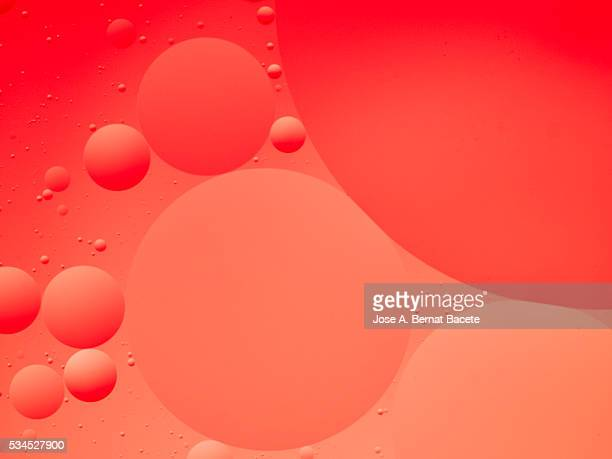Oil drops and bubbles floating over water with a red background