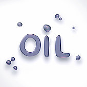 Oil drops forming the word 'oil'