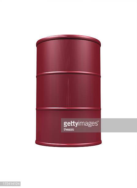 red Ölfass auf weißem Hintergrund