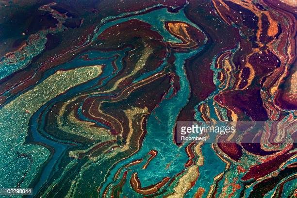 Oil floats in the Gulf of Mexico near Orange Beach Alabama US on Friday June 18 2010 The BP Plc oil spill which began when the leased Transocean...