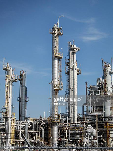 Oil, gas refinery. Towers.