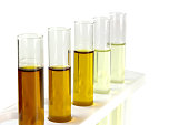 oil in glass tube isolate on white background, hydraulic oil testing in industry laboratory