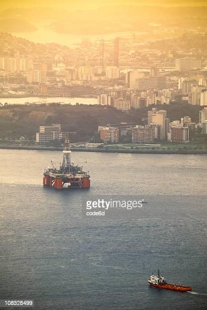Oil industry at Guanabara Bay, Rio de Janeiro, sunset