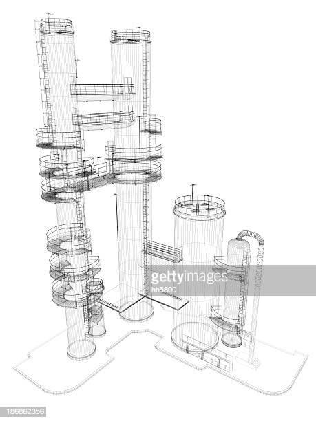 石油貯蔵タンク煙突ワイヤフレーム