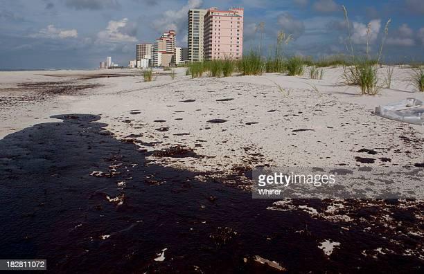 Oil on beach sand from oil spill