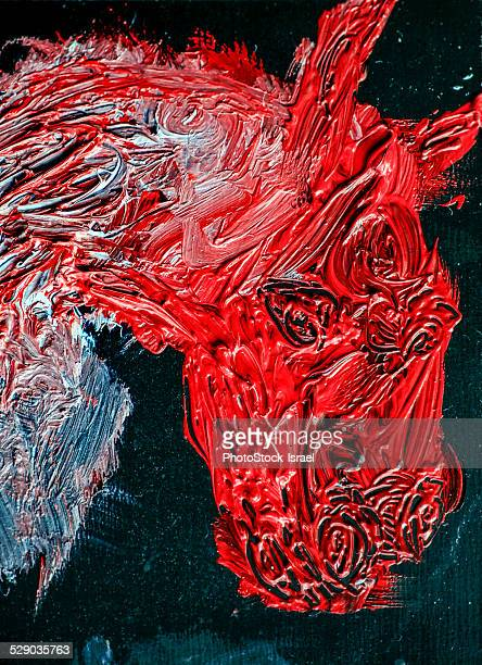 Oil on canvas Horse in red