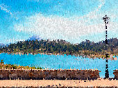 Oil paint and effect on landscape