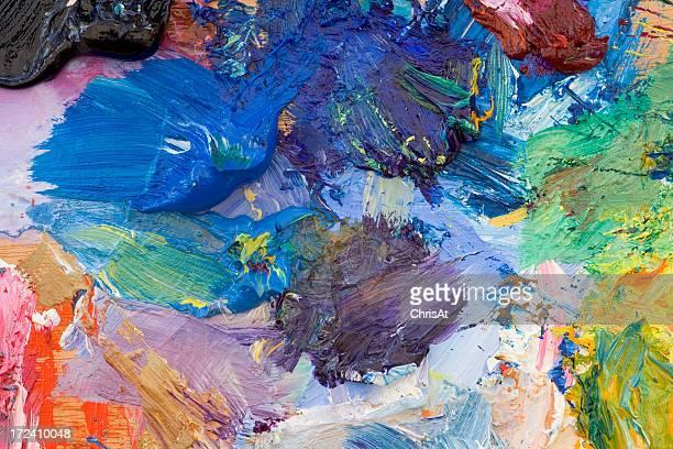 Oil paint palette of various colors