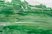 Abstract green oil paint texture background, artwork, modern art