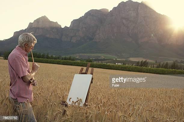 Oil Painter Creating Landscape
