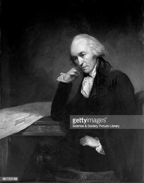 Oil painting by Carl Fredrik von Breda of James Watt Scottish engineer and instrument maker who invented the modern steam engine which became the...