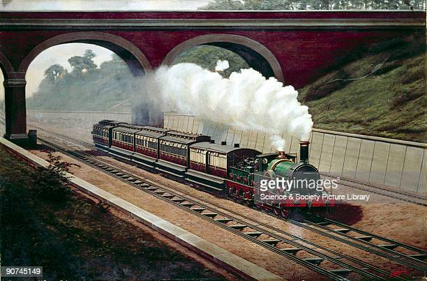 Oil painting by F Moore illustrating the last broad guage train going west on the Great Western Railway Broad gauge track was invented by Isambard...