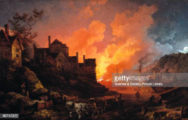 Oil painting by Philippe Jacques de Loutherbourg showing one of the Coalbrookdale ironworks the Bedlam Furnaces along the river Severn at night...