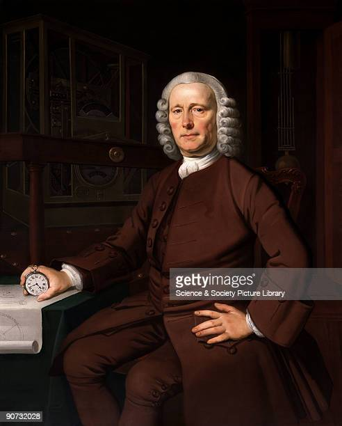 Oil painting by Thomas King Harrison the chronometer pioneer is shown seated beside a table holding the watch made to his design by John Jeffries in...