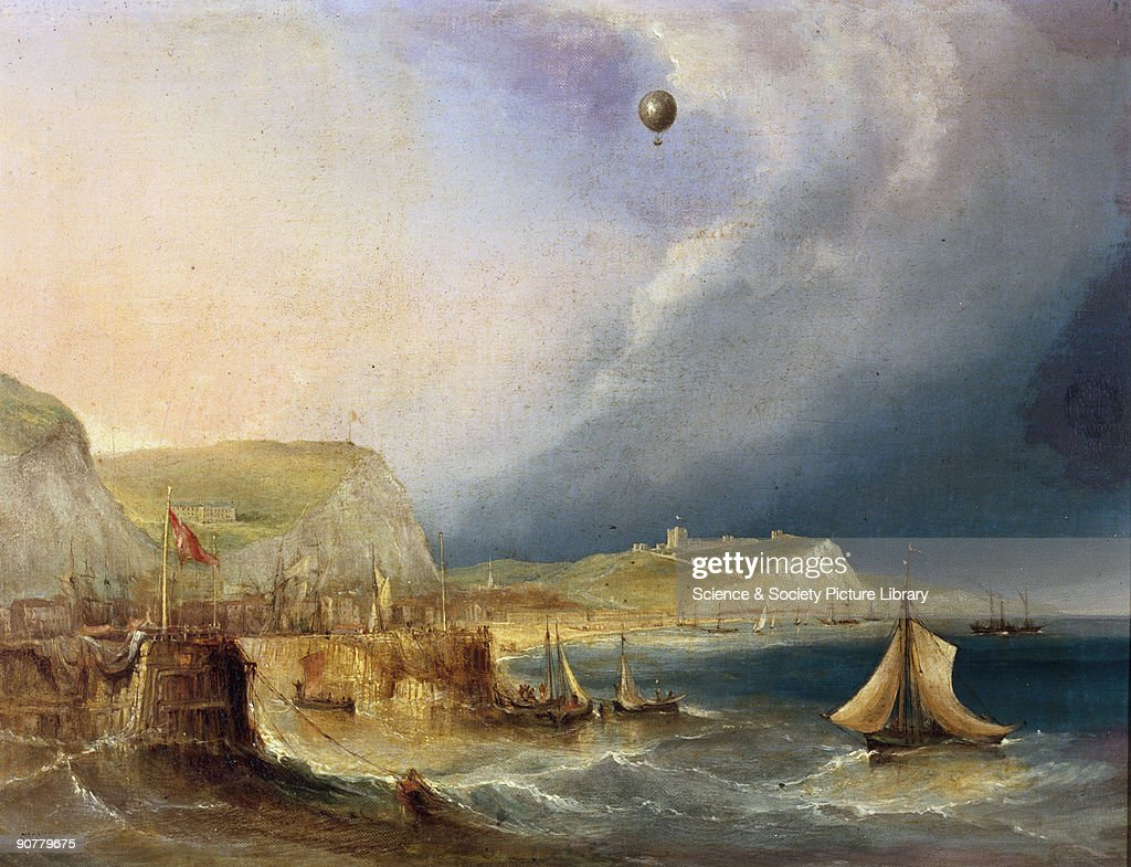 Oil painting made c 1840 by E W Cocks showing Blanchard�s balloon leaving the coast of Dover in Kent with Dover Castle and harbour and an...