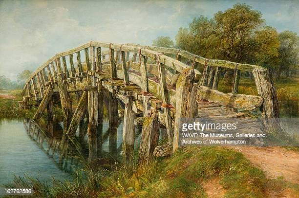 Oil painting of a rickety bridge crossing a river Moss grows on the wooden bridge which clearly reflected in the water Staffordshire England Britain...