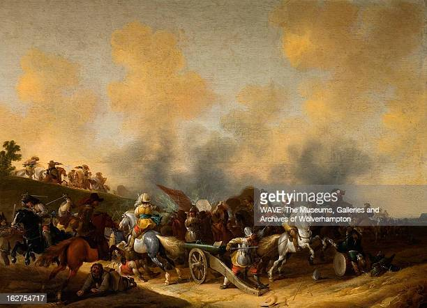 Oil painting showing a battle scene There are soldiers on horseback and a canon is being prepared for firing There is grey smoke billowing over the...
