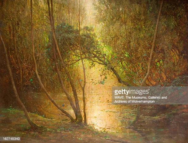 Oil painting showing a calm still pond in a wood The surrounding trees are green and leafy and the sunlight shines through them onto the water A...