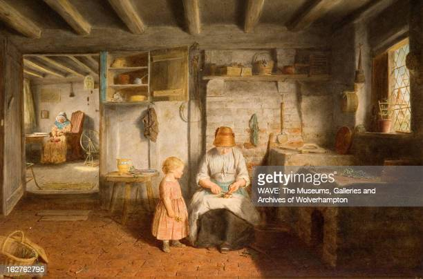 Oil painting showing a simple domestic interior A mother sits scraping carrots while a young child looks on An elderly woman is sleeping by a...