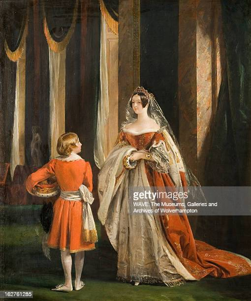 Oil painting showing a woman in opulent medieval costume cream and rust in colour standing in an imposing hall A young page boy stands facing her The...