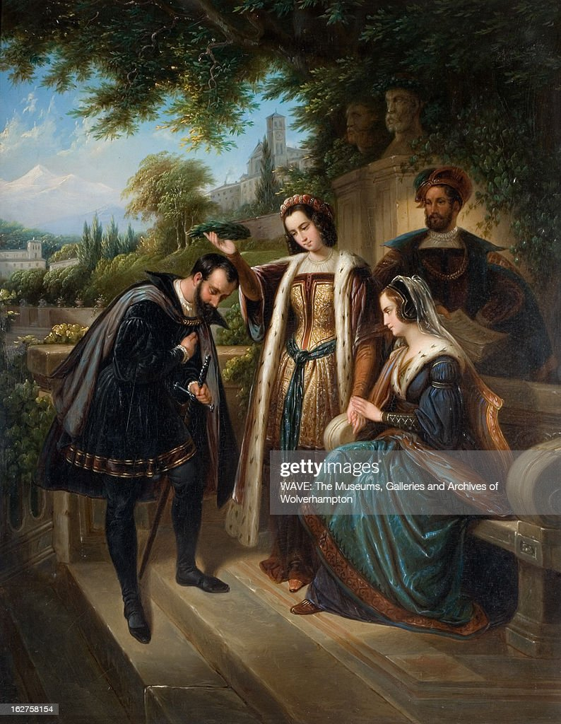 Oil painting showing Christopher Columbus bowing to Queen Isabella of Spain in a lush garden, A lady is placing a wreath of laurel leaves on Columbus' head, Alhambra, Granada, Spain. Queen Isabella and Columbus, 1830-1880. Oil Painting by Henry Nelson O'Neill (1817-1880).