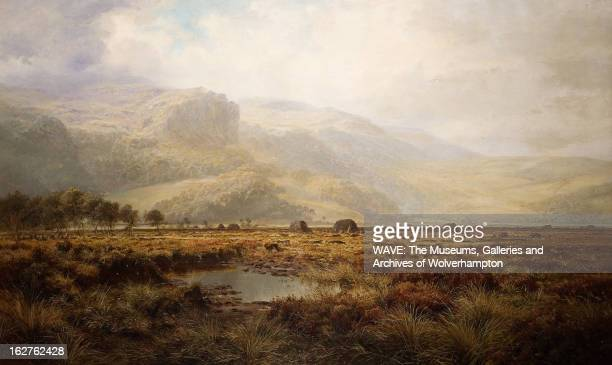 Oil painting showing flat marshland with hills behind The sky is cloudy and misty Barmouth Kent England Britain Near Barmouth 1881 Oil Painting by...
