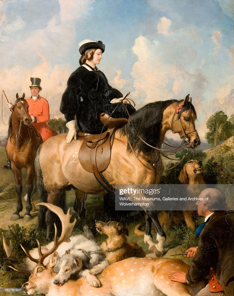 Queen Victoria In Windsor Home Park Oil Painting Showing On Horseback Following A Deer Hunt The Gamekeeper Sits At