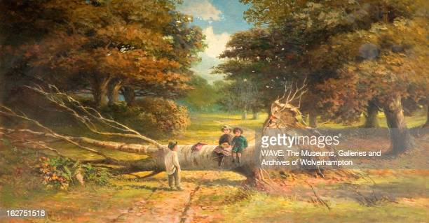 Oil painting showing two small children sat on a large fallen tree in a wood A third child is stood looking at them Babes in the Wood 18001899 Oil...