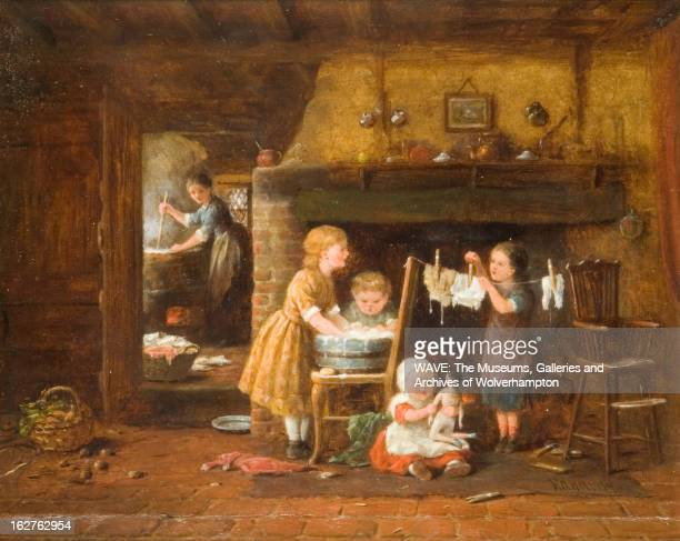 Oil painting showing washday in a modest rural home Three children help out whilst their mother can be seen washing in an adjoining room A baby sits...