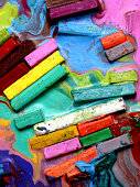 Close up of multicolored Oil pastels and crayons