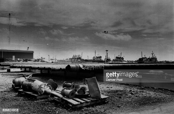 Oil Petroleum Industry US Equipment lies in an open area without guards or fence at a Galveston Texas dock Credit Denver Post
