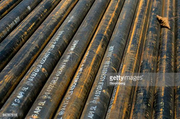 Oil pipelines are stacked before being laid near Yasuni National Park in Orellana Province Ecuador on Tuesday Oct 13 2009 Ecuador is seeking about $3...