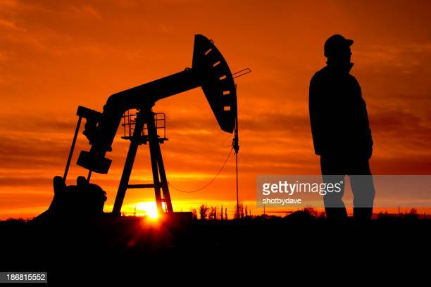 Oil Pumpjack and Worker