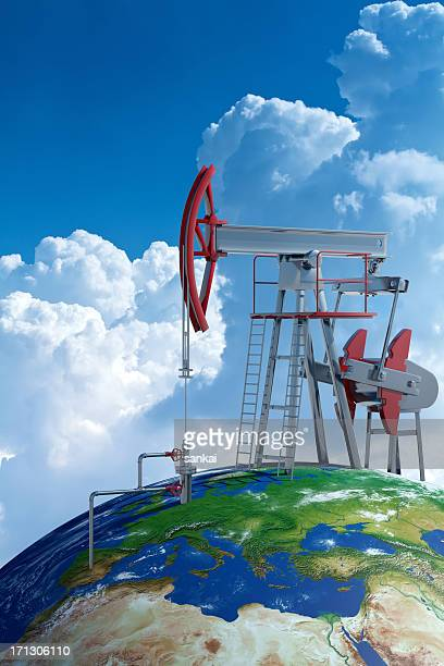 Oil pumpjack on Earth globe
