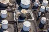 Oil refinery aerial view. High angle view