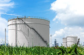 Natural Gas storage tanks and oil tank in industrial plant under blue sky