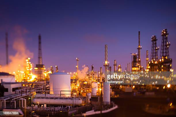 Oil Refinery at Dusk (Tilt-Shift)