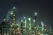 Oil refinery at night,Japan