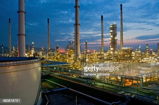 Oil refinery during the night