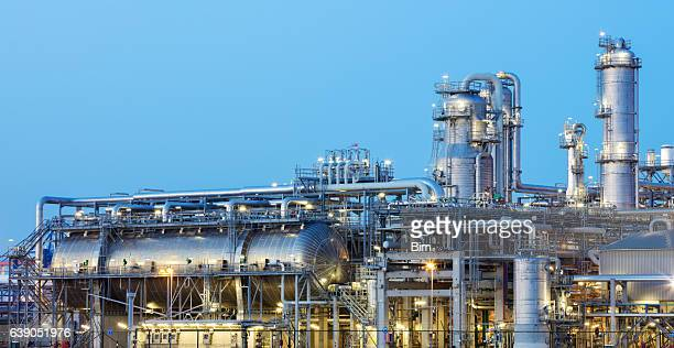Oil Refinery Iluminated at Dusk