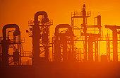 Oil Refinery, Misty sunset