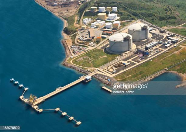 Oil refinery near the sea photographed from the air