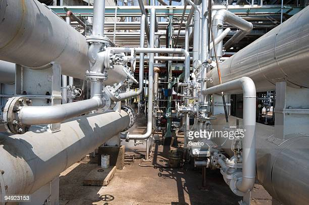 Oil refinery pipes