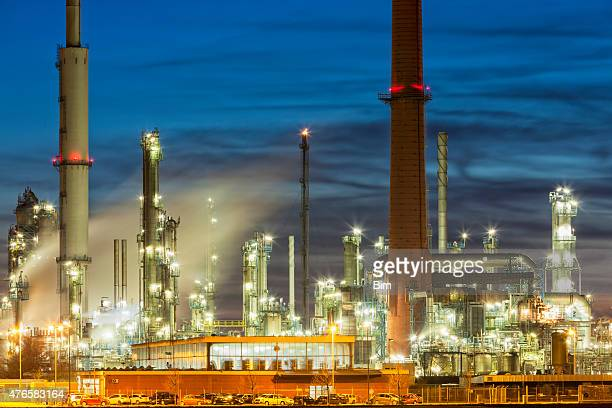 Oil Refinery Plant Area at Dusk